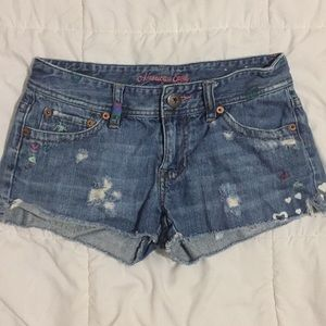 American Eagle Embroidered & Bleached Heart Shorts